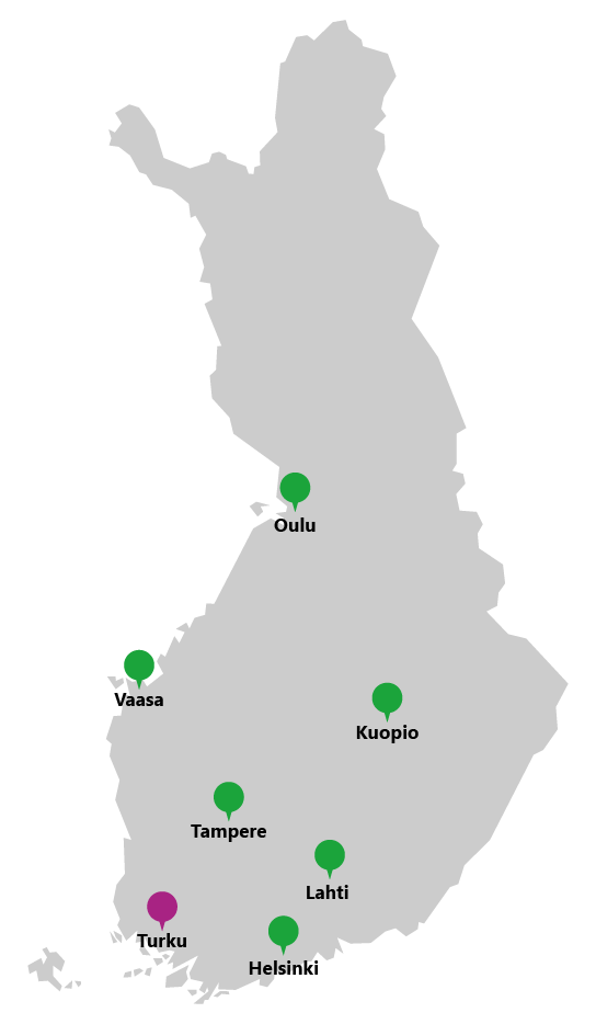Detector partners on a map of Finland